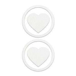 Pezoneras ouch forma corazón con circulo exterior blanca