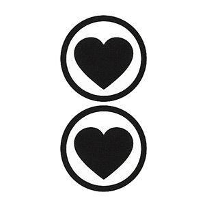 Pezoneras ouch forma corazón con circulo exterior negra