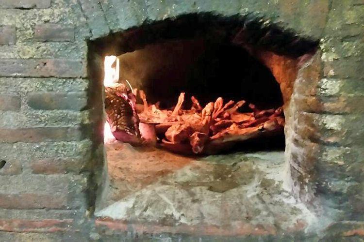 Carne al horno de leña