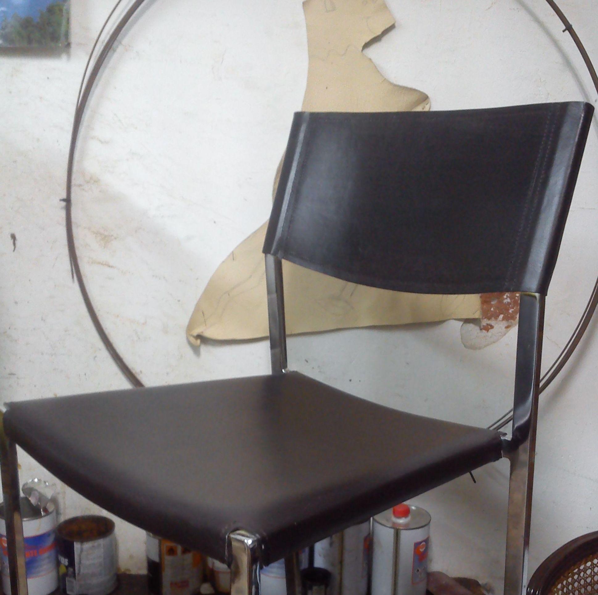 asiento y respaldo en cuero
