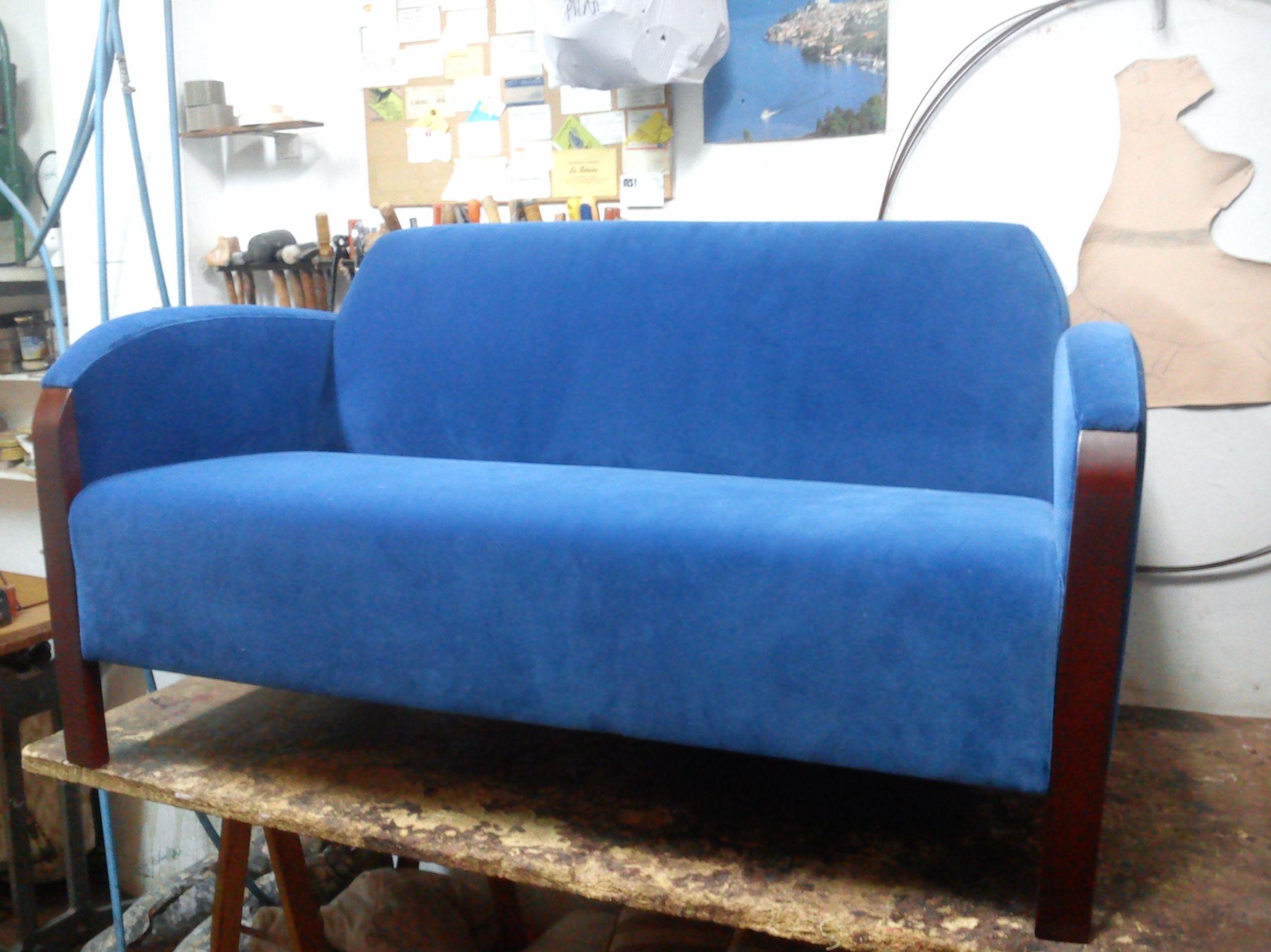 sofa 2 plazas en terciopelo de algodon italiano