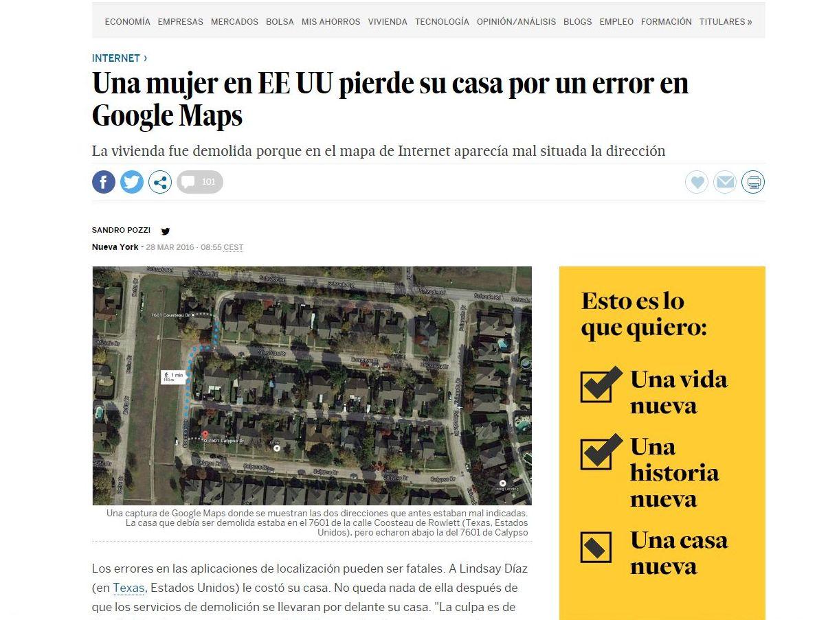 Por un error de Google Maps derriban su casa (afortunadamente esto no pasa en Madrid)