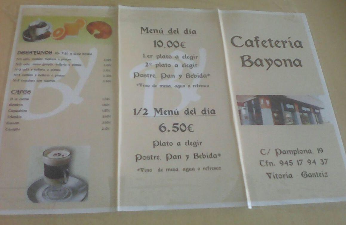 Carta desayunos: Especialidades de la casa de Cafetería Bayona