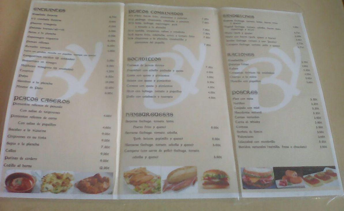 Carta de bocadillos: Especialidades de la casa de Cafetería Bayona