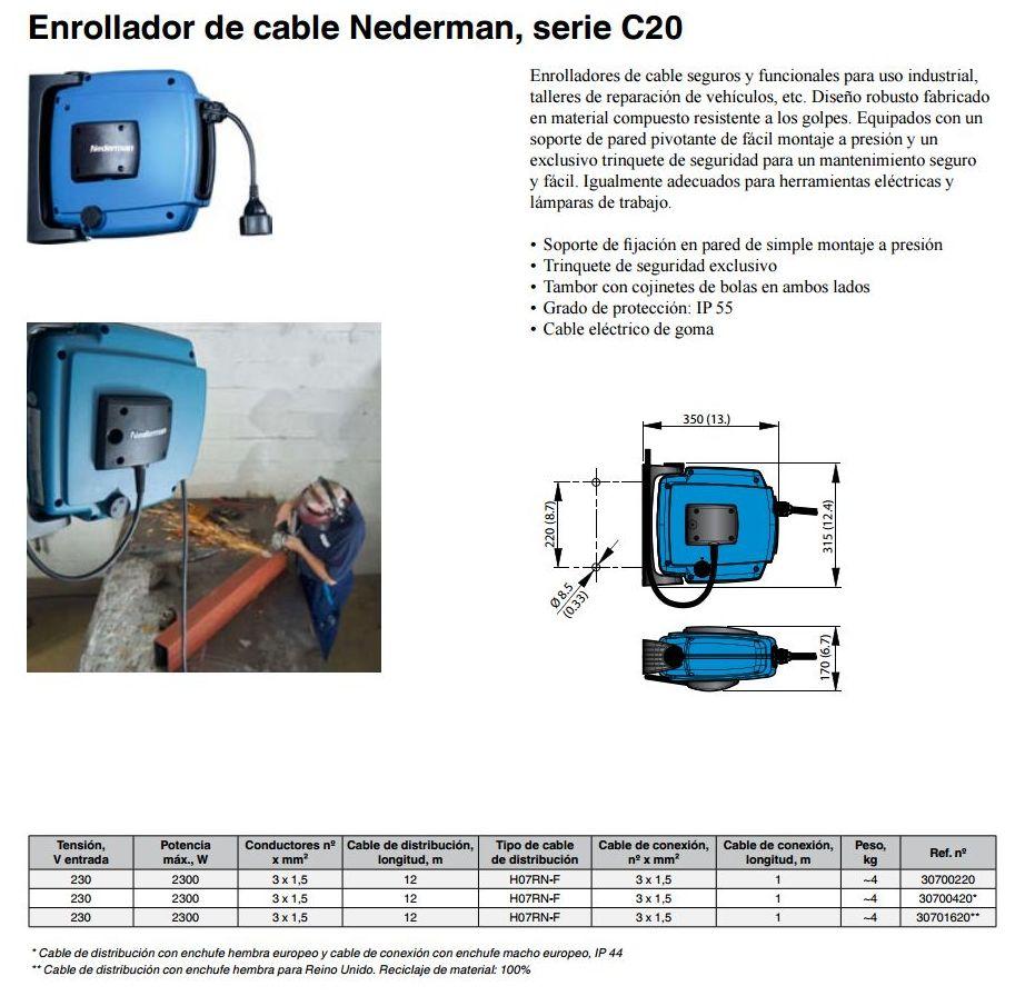Enrollador de cable Nederman, serie C20