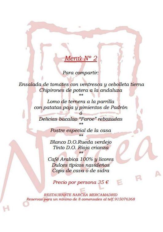 Menú 2 Navideño para grupos: Nuestros Platos de Restaurante Narcea