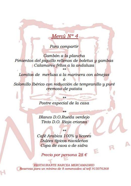 Menu 4 Navideño para grupos: Nuestros Platos de Restaurante Narcea
