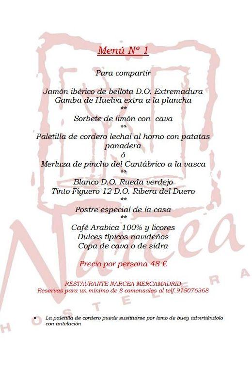 Menú 1 para grupos : Nuestros Platos de Restaurante Narcea