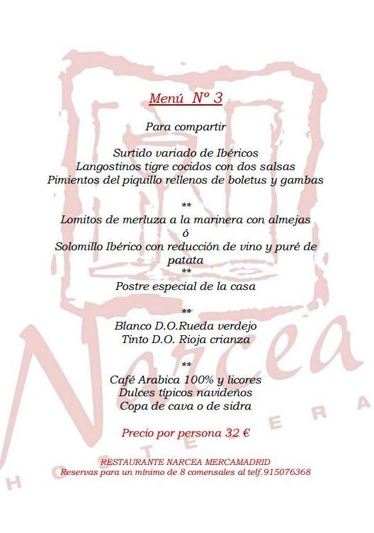 Menu 3 Navideño para grupos: Nuestros Platos de Restaurante Narcea