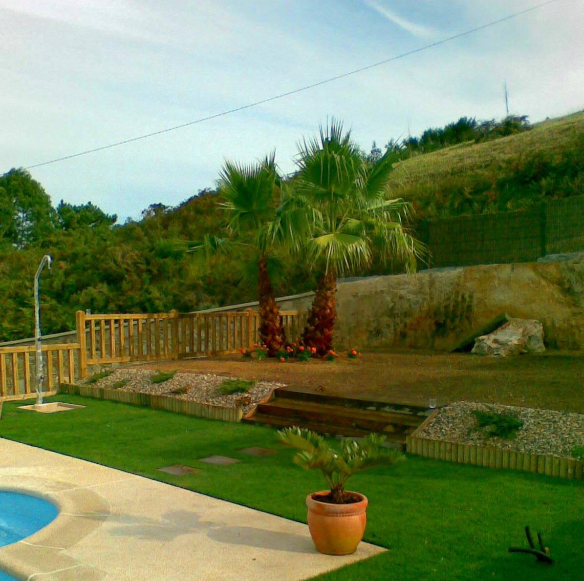 Jardín con tepe natural