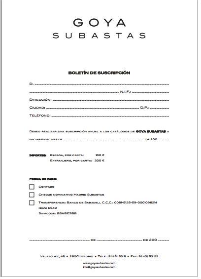 Hoja de suscripción a catálogo