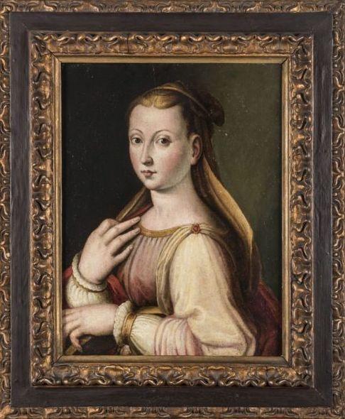 "Anónimo florentino S.XVI, Circulo de Alessandro Allori (Florencia 1535 - 1607) ""Retrato de dama"" Óleo sobre tabla"