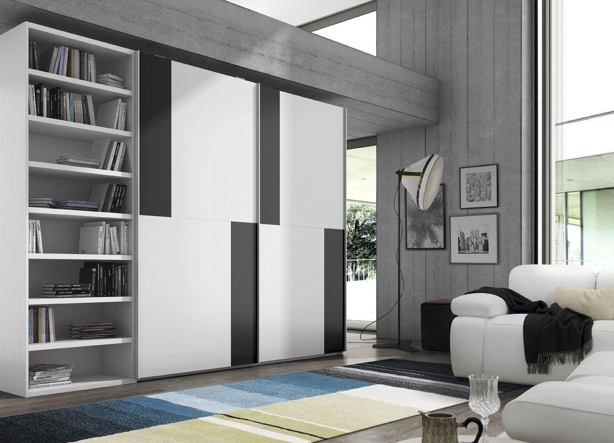 Armario 3 modulos, 2 puertas correderas + modulo librería visto.