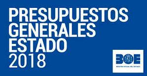 PUBLICADOS LOS PRESUPUESTOS GENERALES DEL ESTADO DE 2018