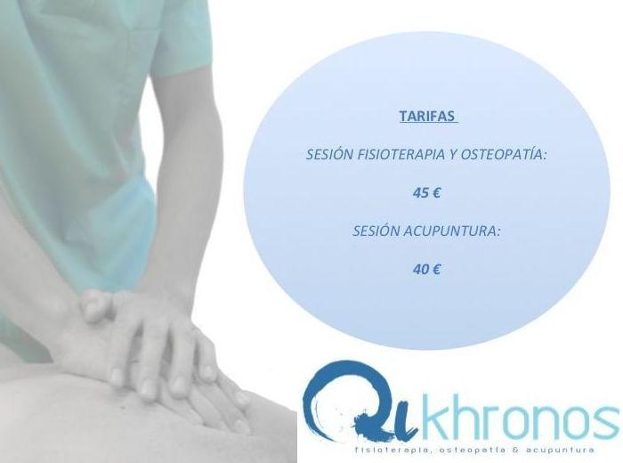 Tarifas : Tratamientos de Qikhronos - Fisioterapia, Osteopatía y Acupuntura