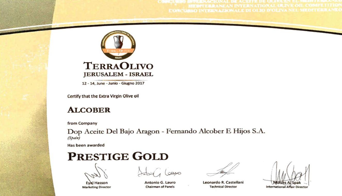 ALCOBER premio PRESTIGE GOLD en Terraolivo 2017