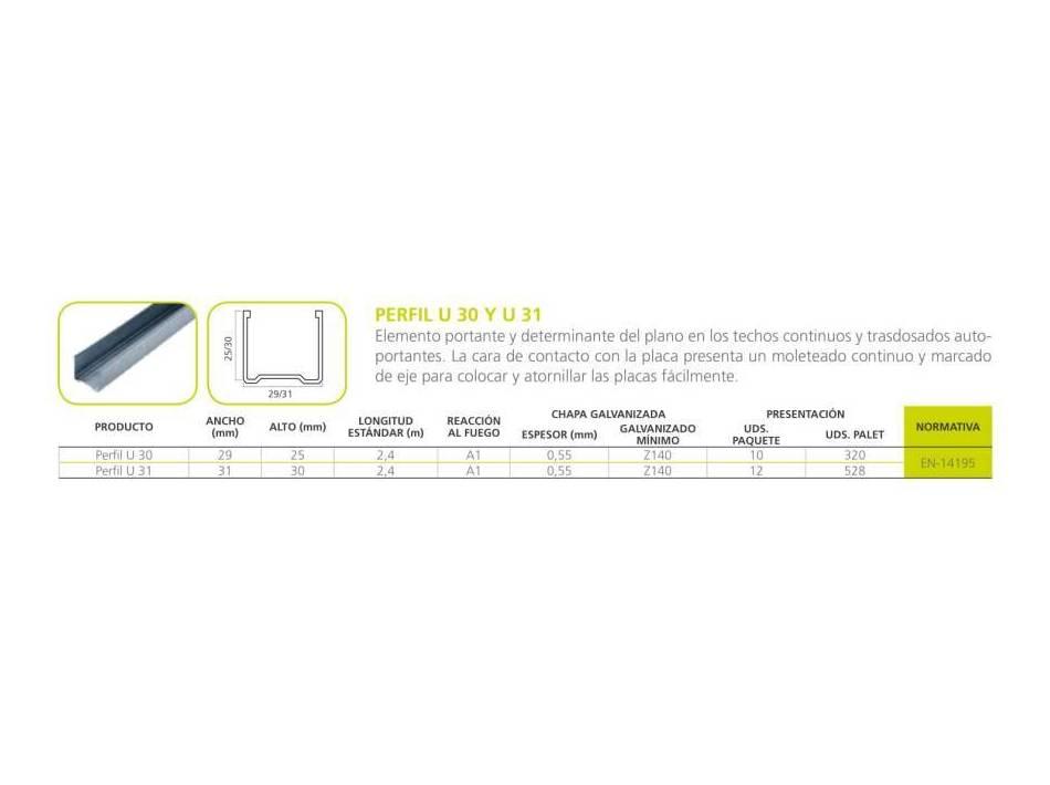 Perfil U-30 y U-31: Materiales - Distribuciones de AISLAMIENTOS LORSAN