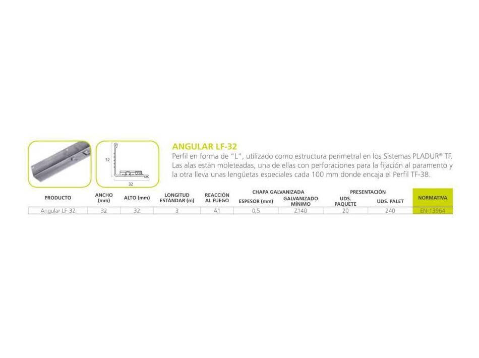Angular LF-32: Materiales - Distribuciones de AISLAMIENTOS LORSAN