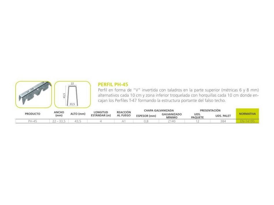 Perfil PH-45: Materiales - Distribuciones de AISLAMIENTOS LORSAN