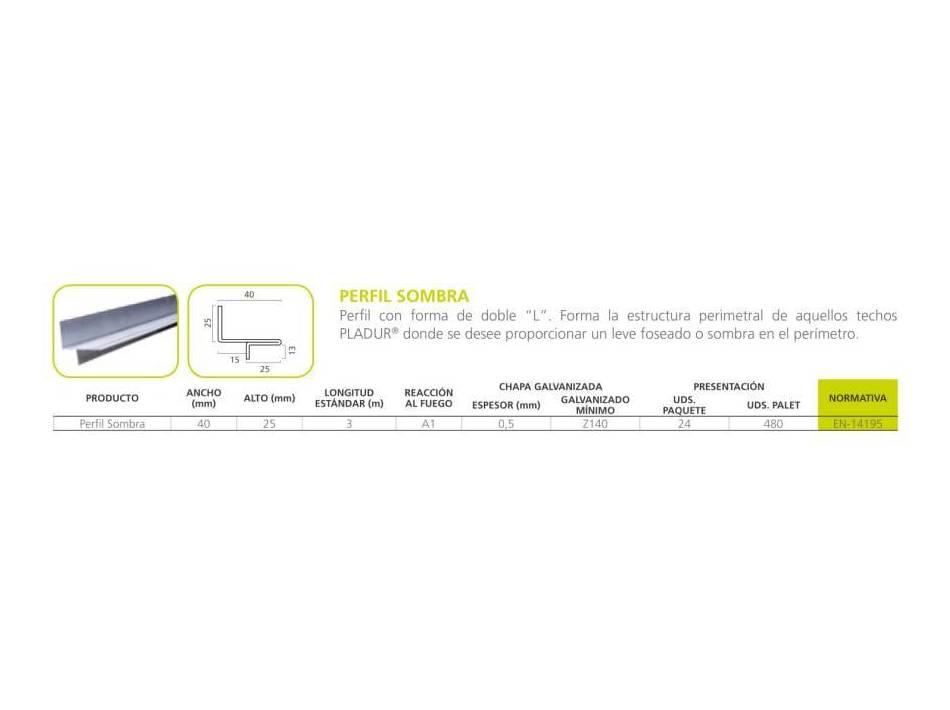 Perfil Sombra: Materiales - Distribuciones de AISLAMIENTOS LORSAN
