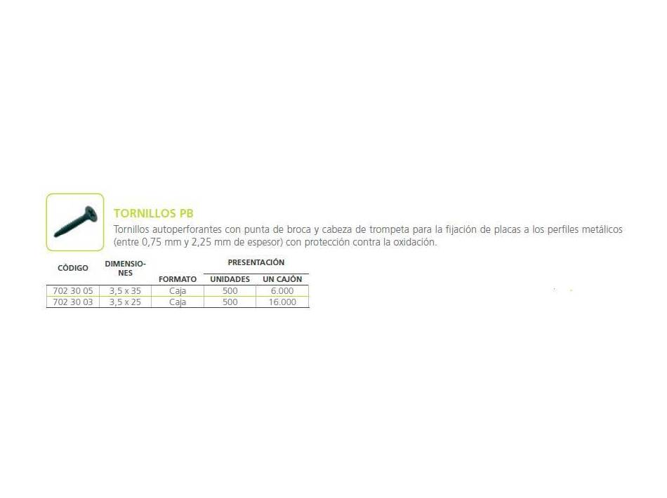 Tornillo PB: Materiales - Distribuciones de AISLAMIENTOS LORSAN