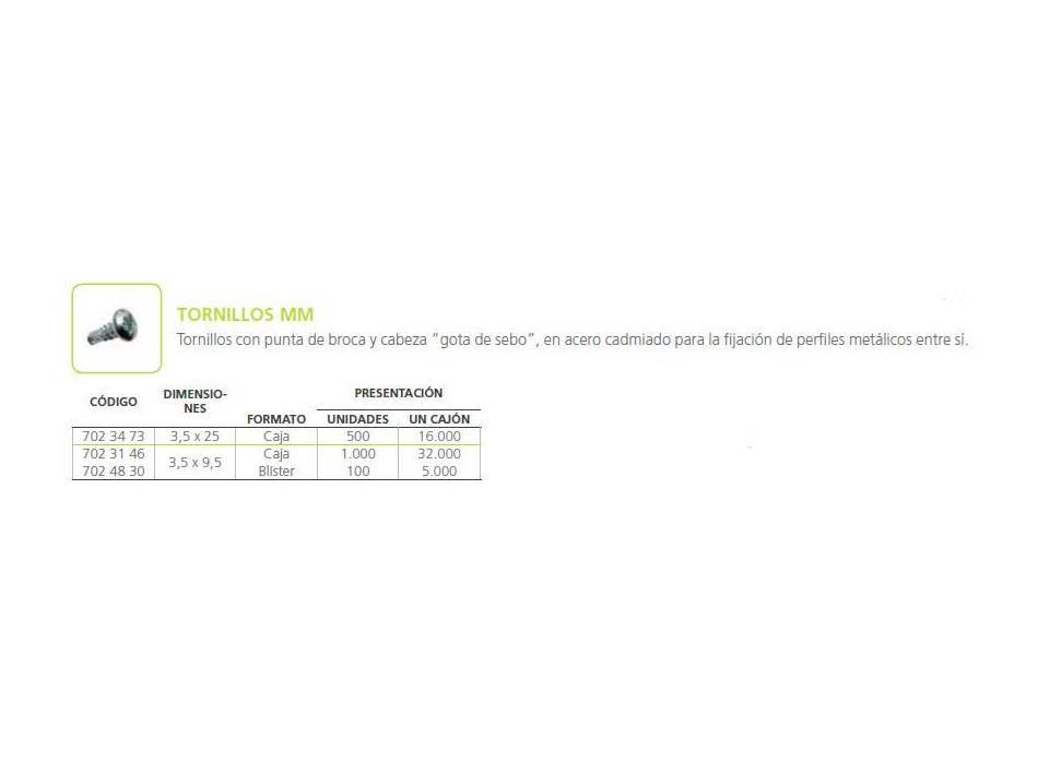 Tornillo MM: Materiales - Distribuciones de AISLAMIENTOS LORSAN