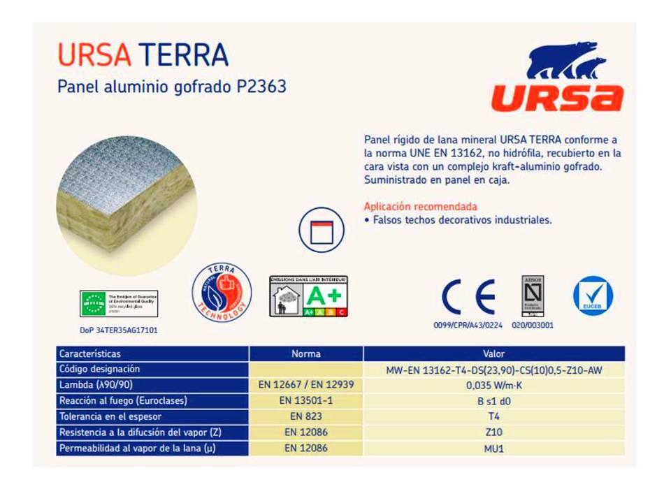 Ursa TERRA Panel Aluminio gofrado : Materiales - Distribuciones de AISLAMIENTOS LORSAN