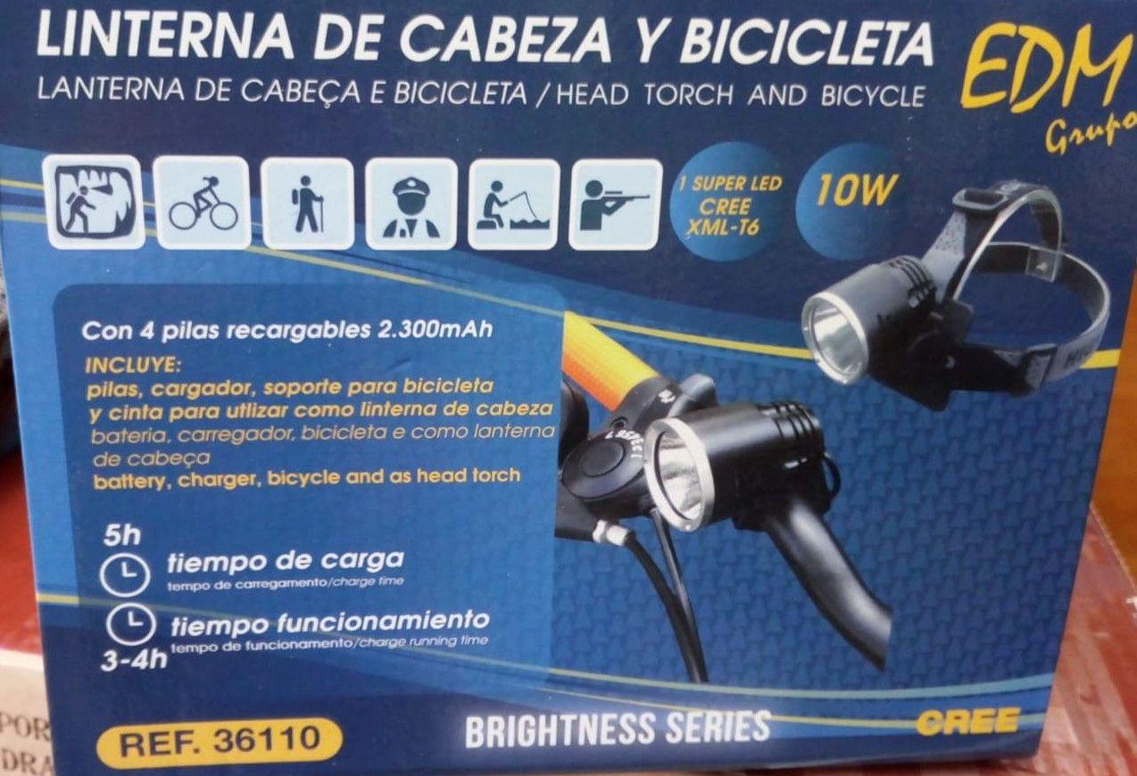 LINTERNA DE CABEZA Y BICICLETA EDM