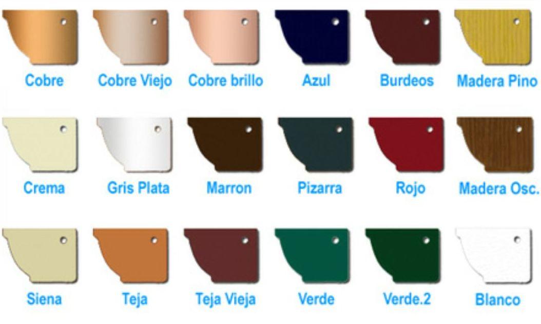 carta colores para canalones en aluminio