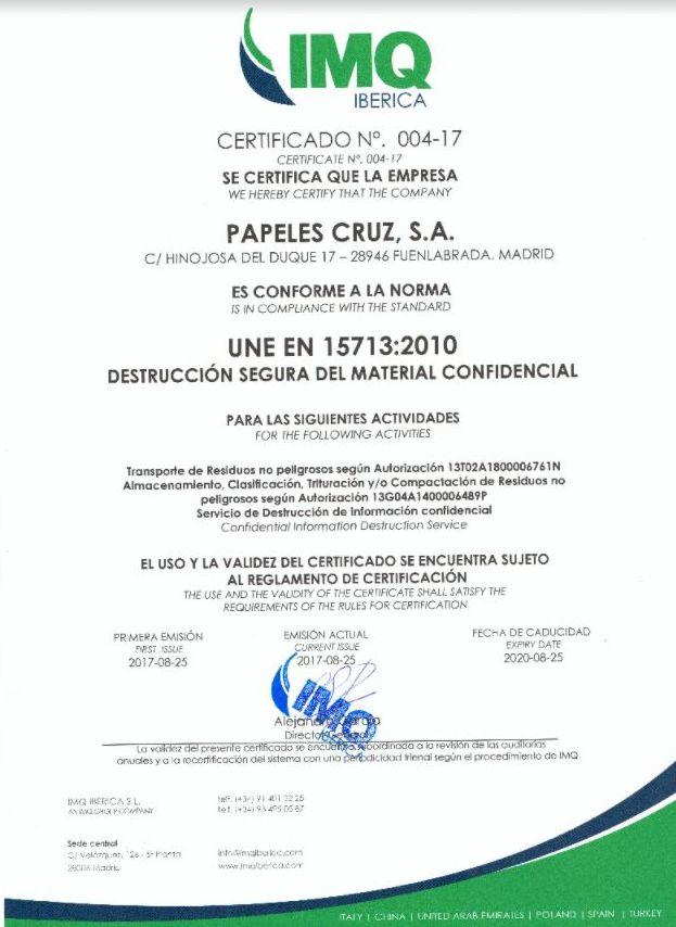 DESTRUCCION SEGURA DE MATERIAL CONFIDENCIAL.