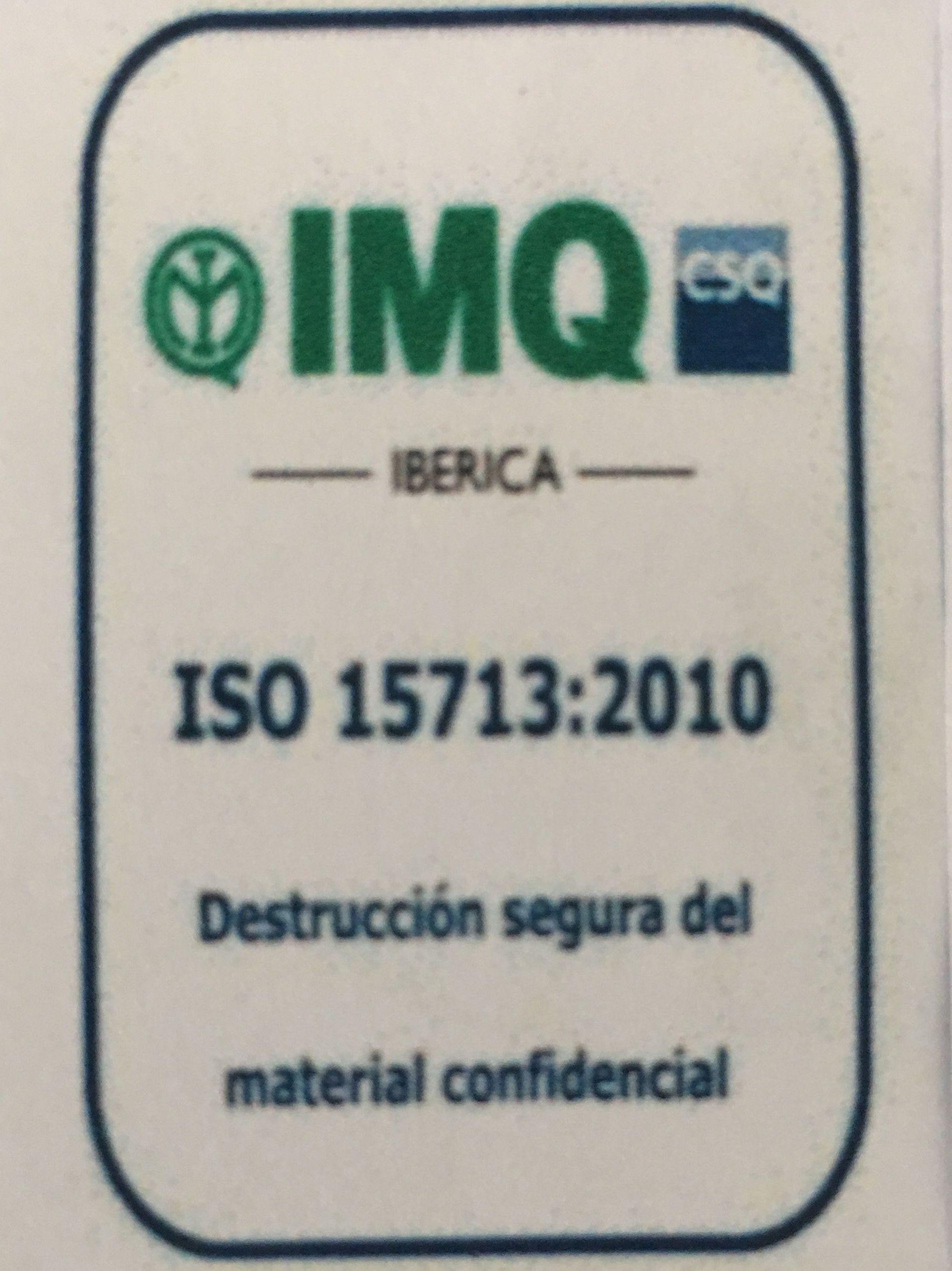 """Hemos conseguido la certificación en la ISO 15713 """" DESTRUCCION SEGURA DE MATERIAL CONFIDENCIAL."""