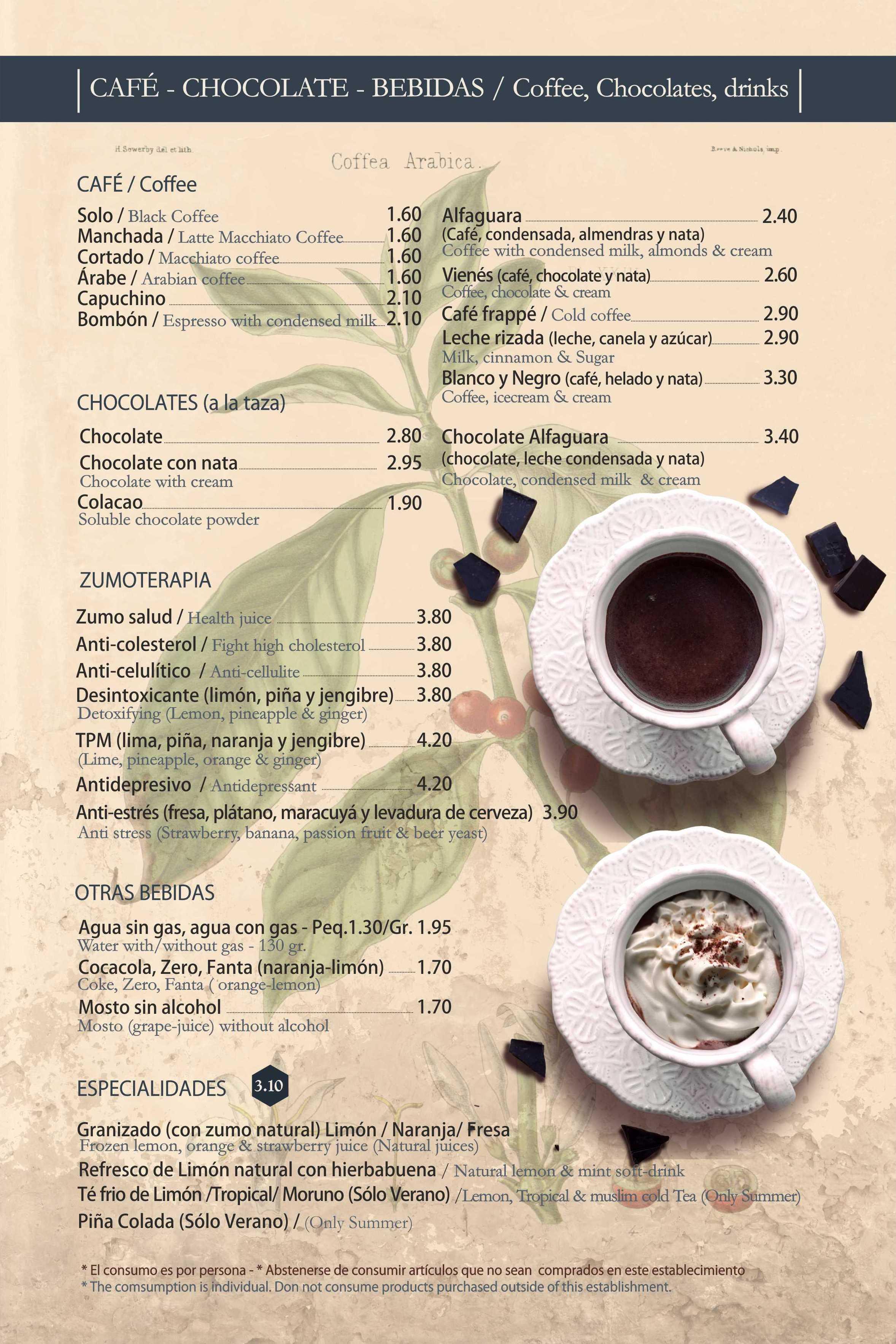 Cafés, zumos y chocolates