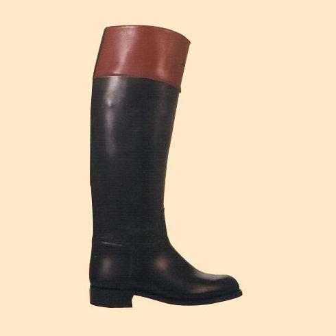Bota de hípica color negro brillo y marrón