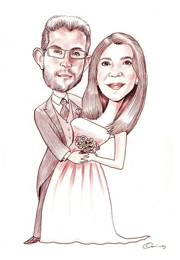 Caricatura novios, Caricatura pareja, Caricatura boda