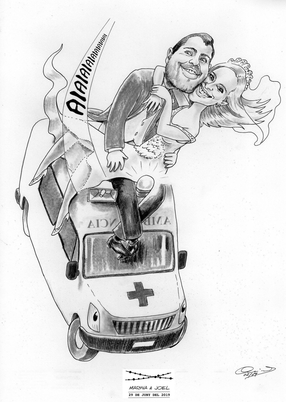 Caricatura novios, Caricatura novios con coche, Caricatura boda