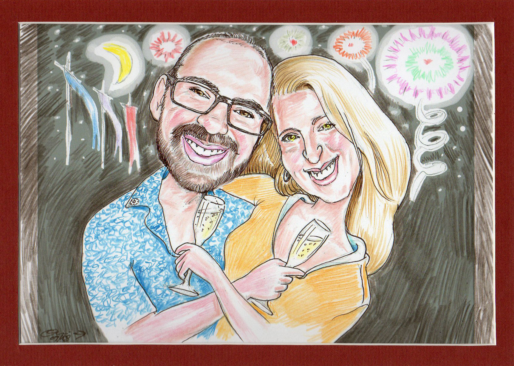 Caricatura para un aniversario amoroso