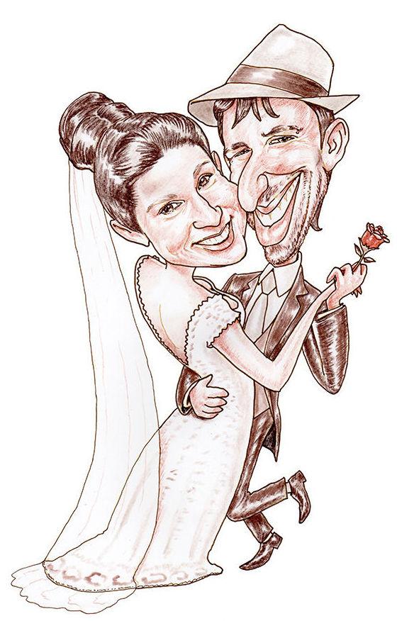 Caricatura novios para invitación boda