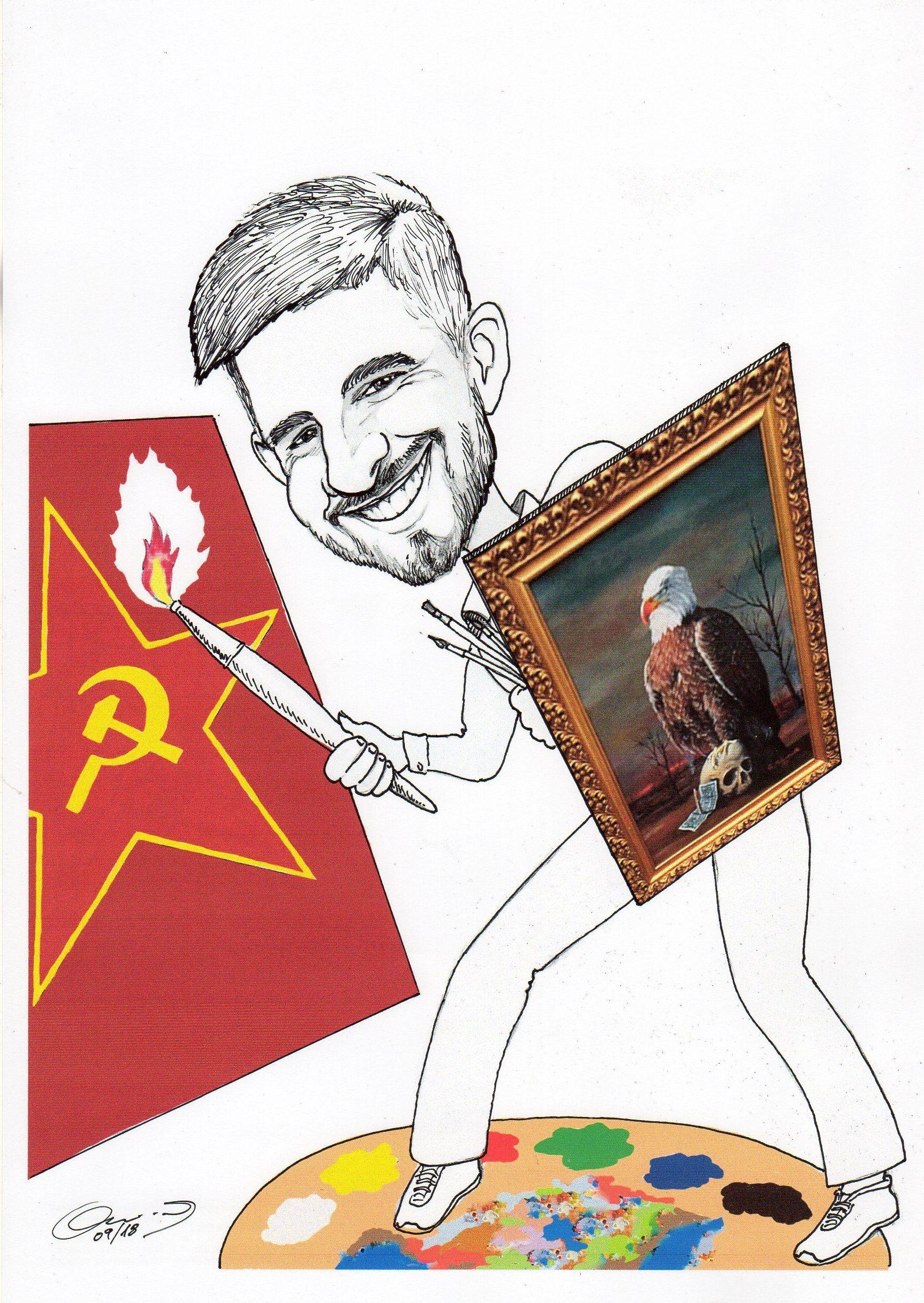 Caricatura para un recién graduado en Bellas Artes