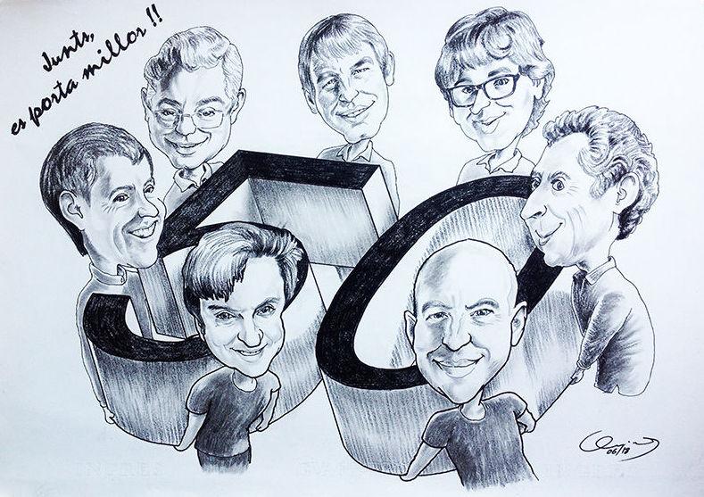 Caricatura grupo, Caricatura aniversario grupo