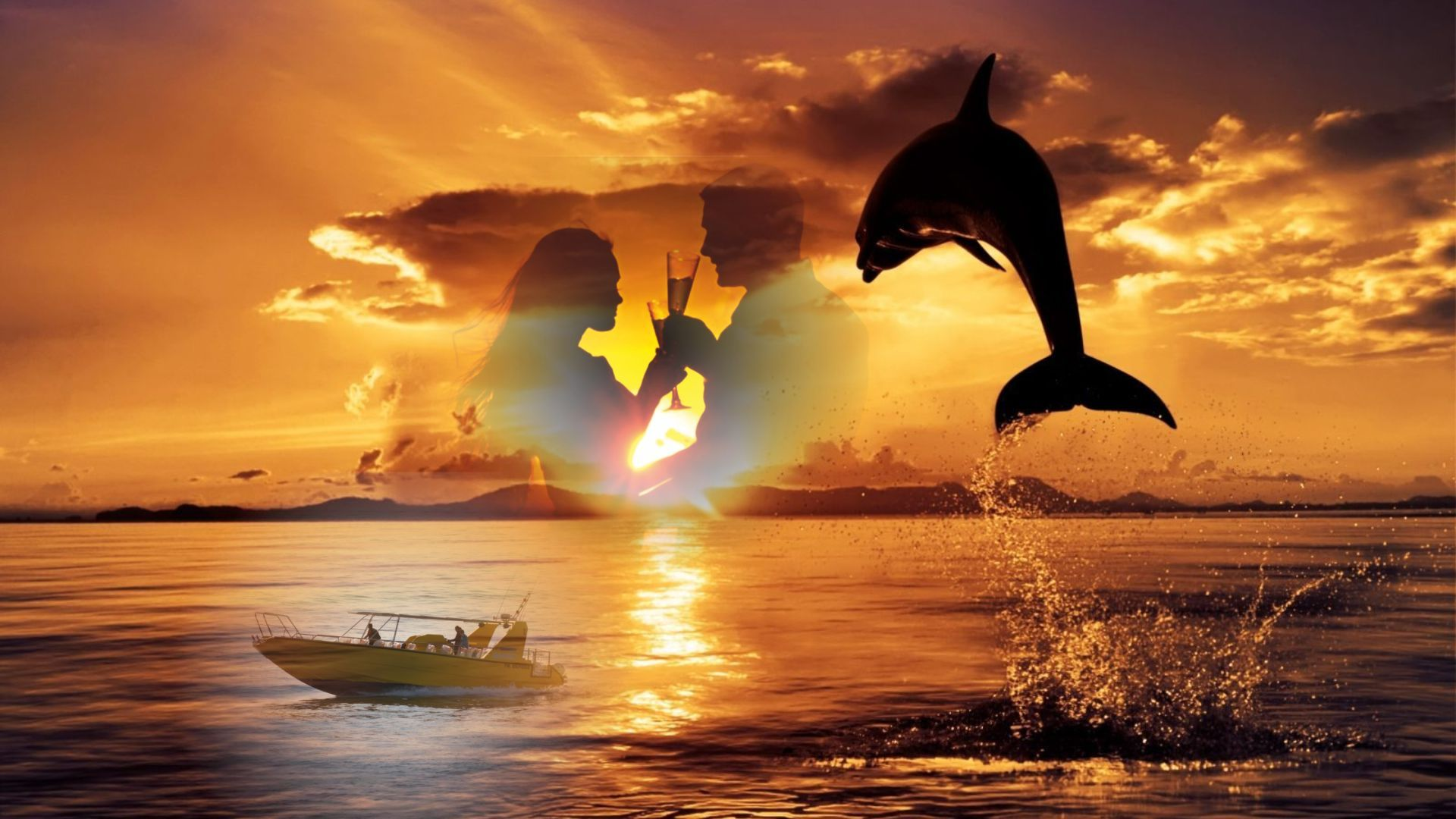 Sunset and dolphin watching