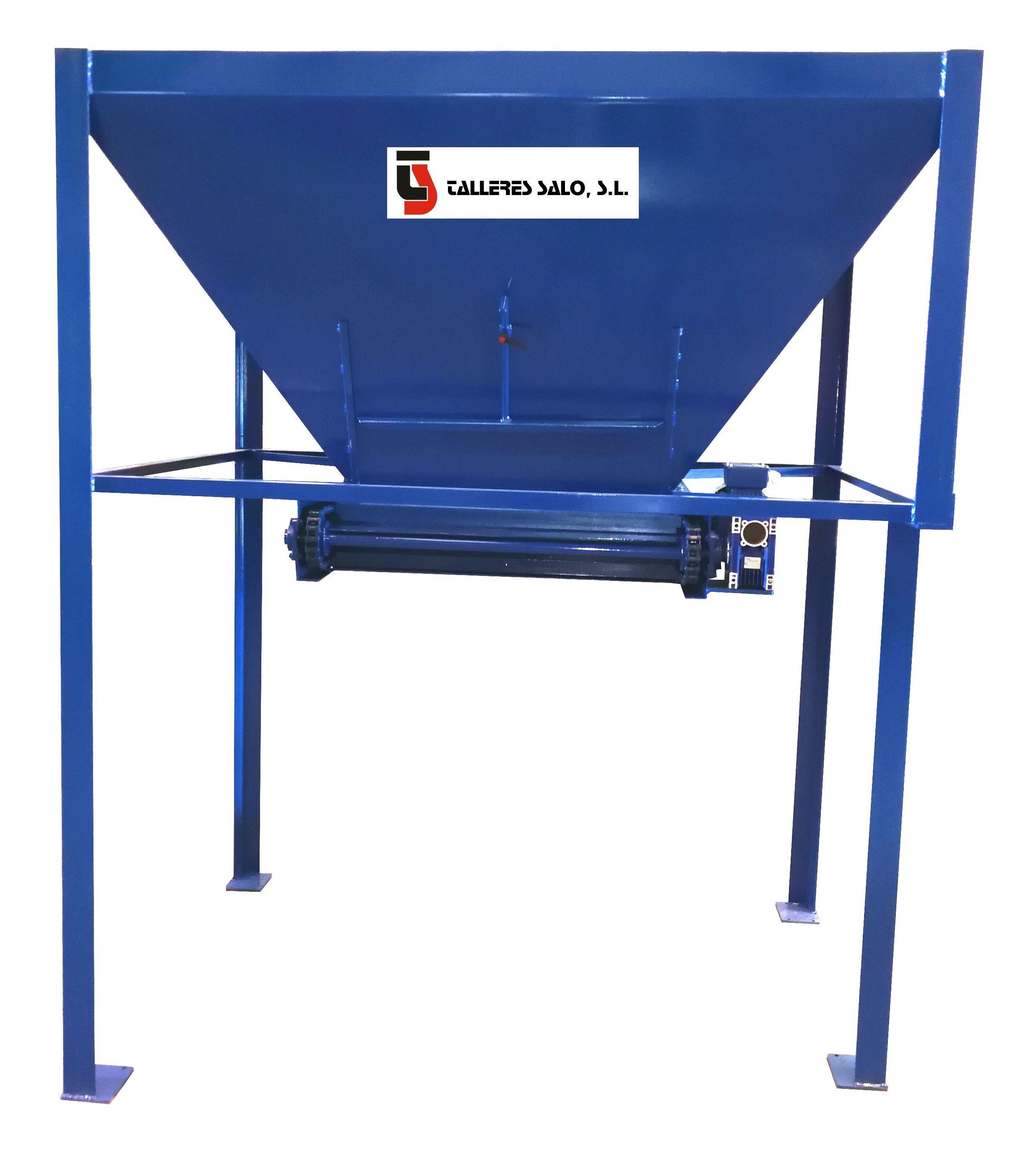 Tolva Acero Carbono portilla caudal regulable, vaciado por arrastre cadenas (moto-reductor)