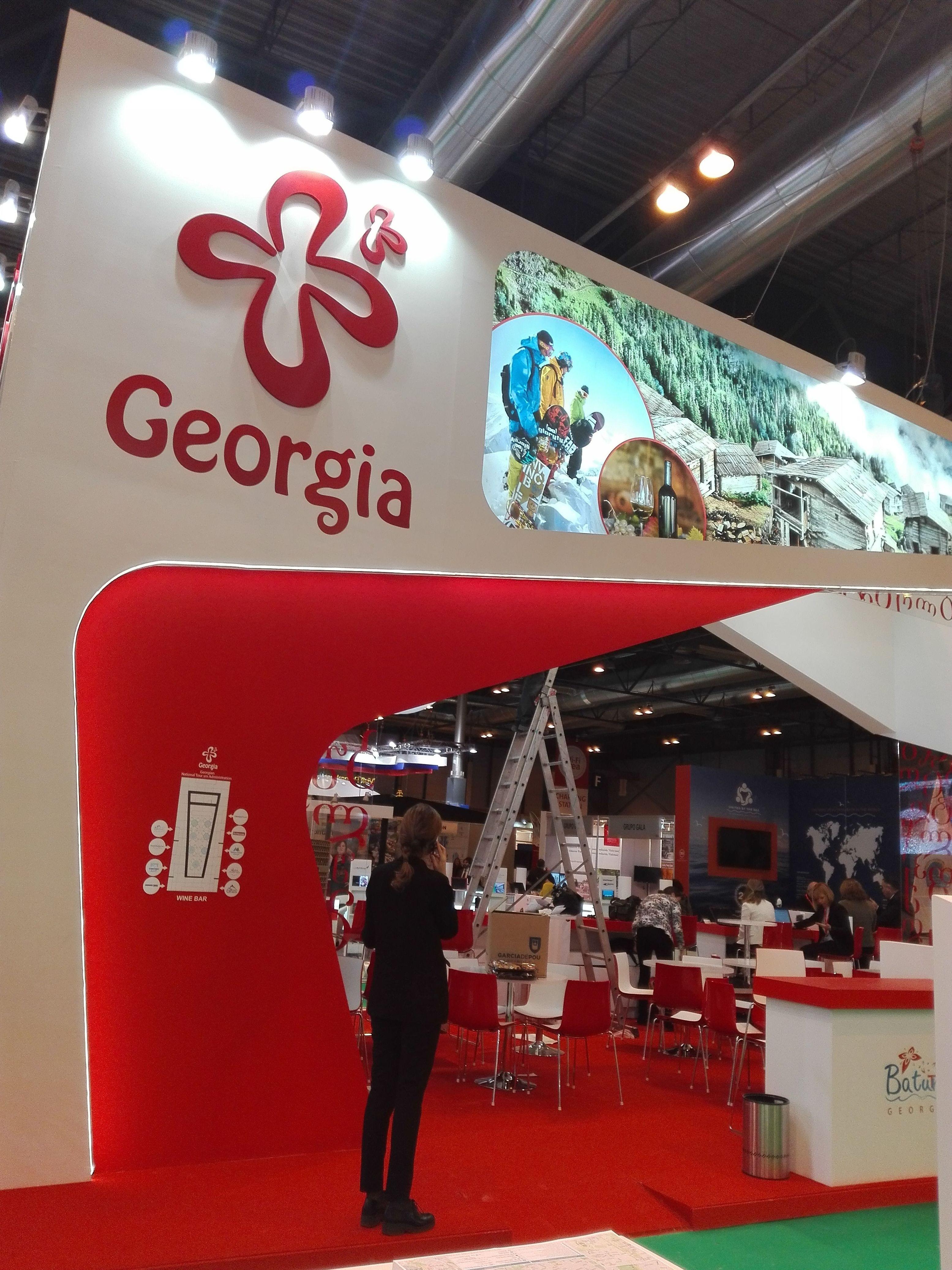 Impresión de vinilos y aplicación para el stand de Georgia feria Fitur en el Ifema del 17 al 21 enero 2018 como siempre Madrid capital del turismo acoge a países de todo el mundo.