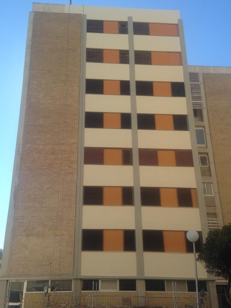 Rehabilitación de fachada con descuelgue hotel Holiday express. Ciudad de las Ciencias Valencia