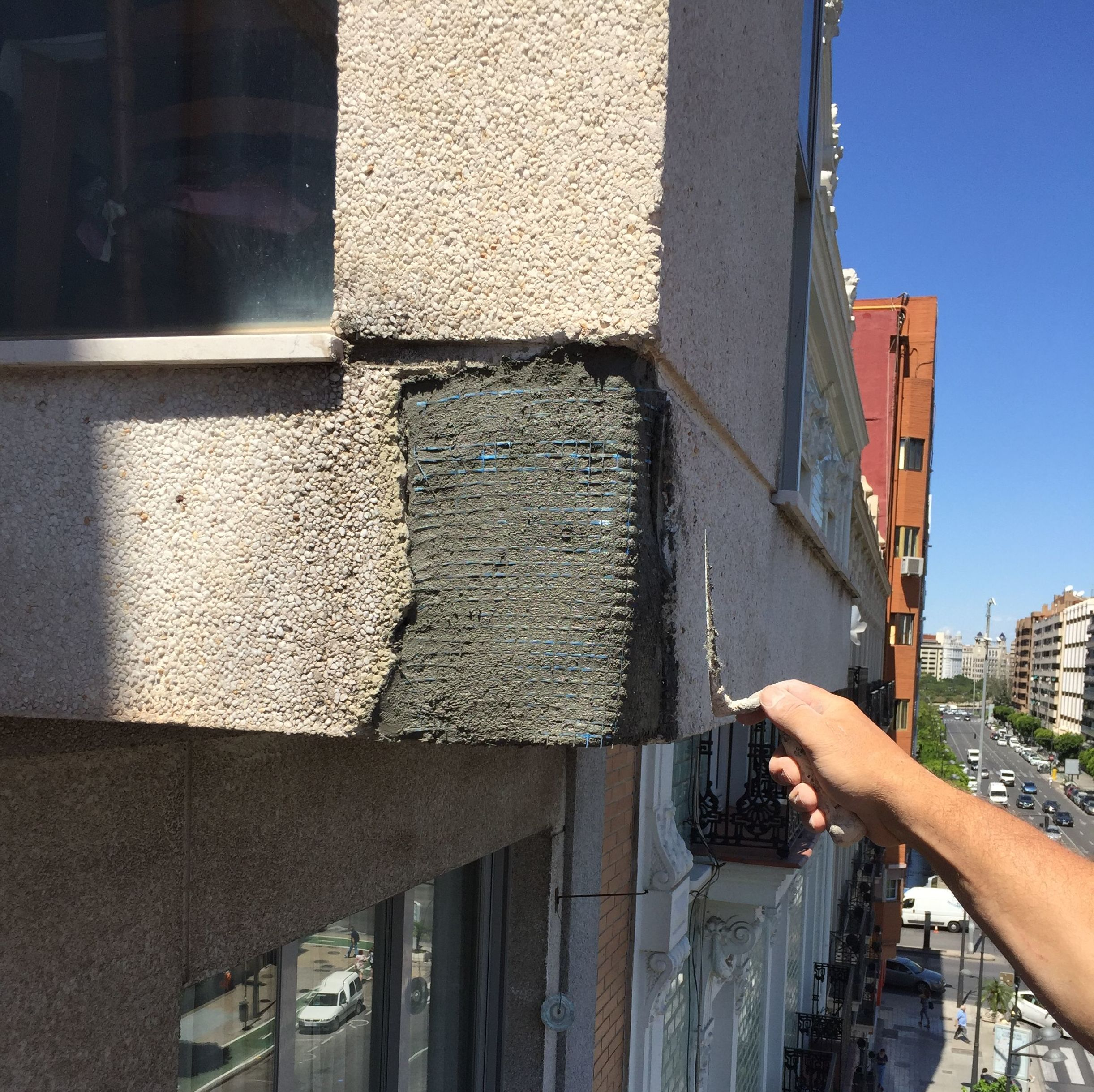 Trabajo de restauración de fachadas