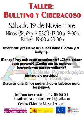 Taller celebrado en Arnuero para padres y niños sobre el Bullying y ciberacoso