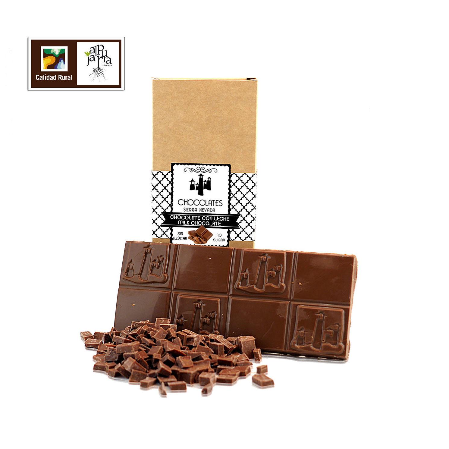 chocolate artesano con leche sin azúcar