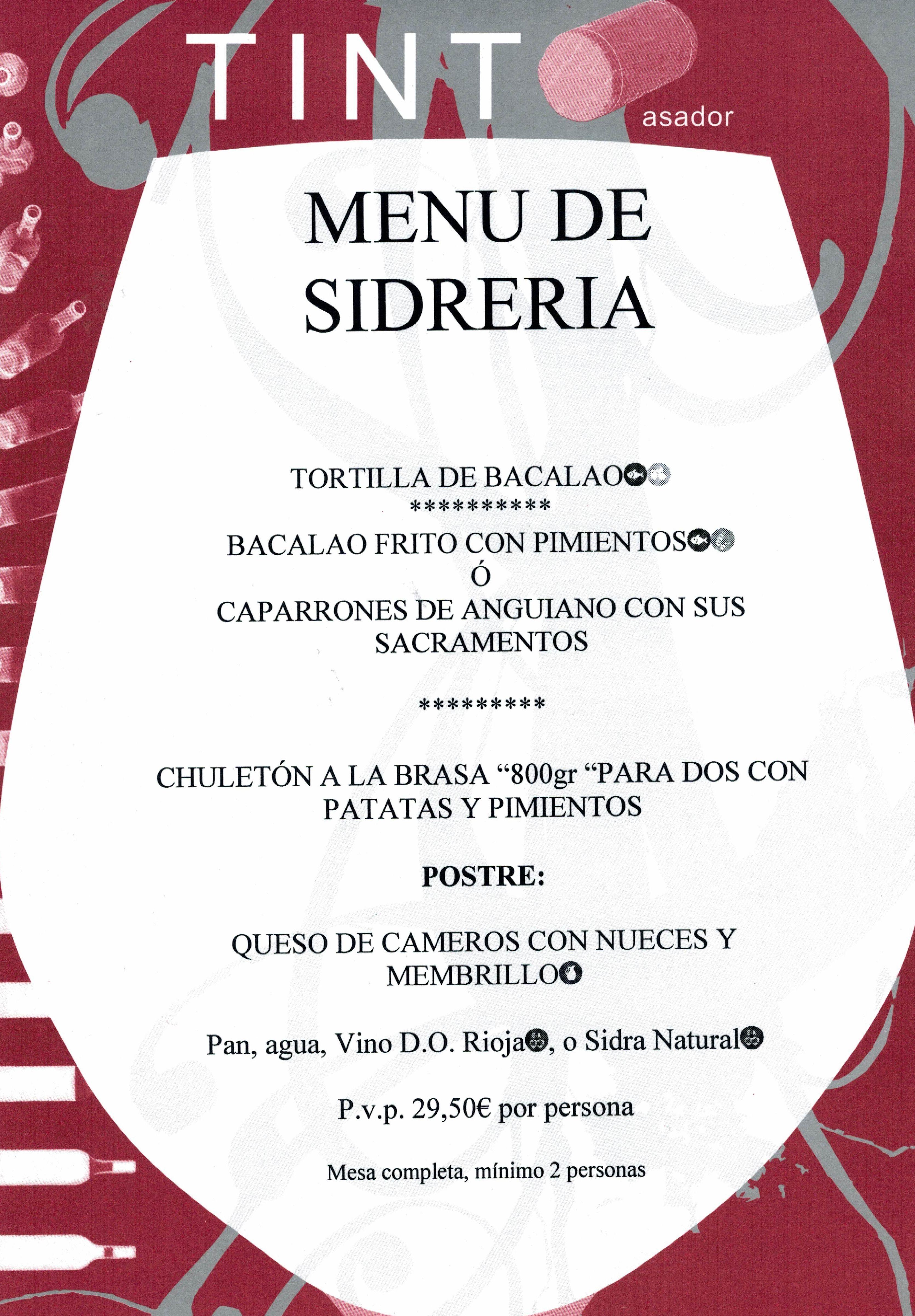 MENU DE SIDRERIA