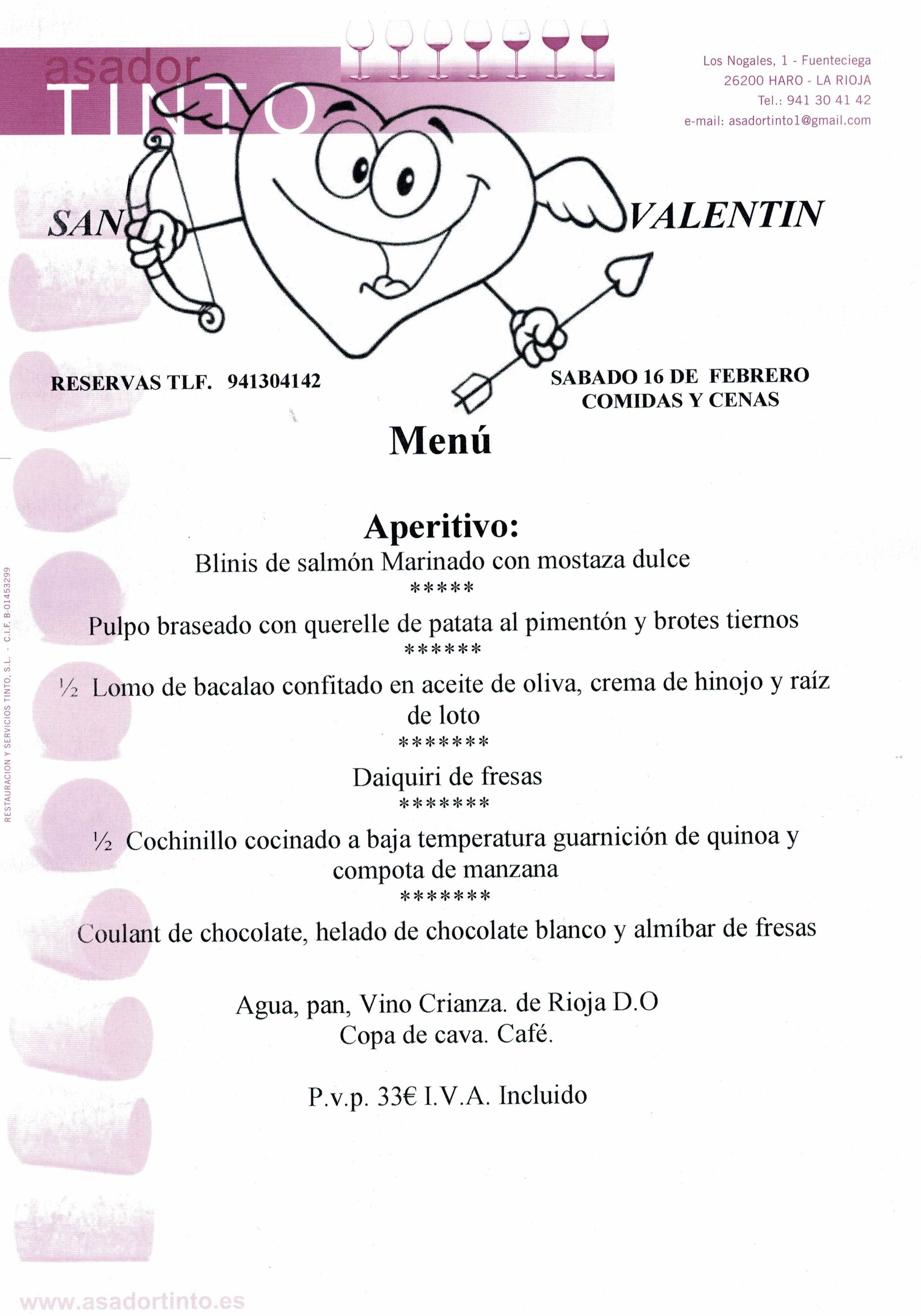 Menú San Valentín: Carta de Asador Tinto
