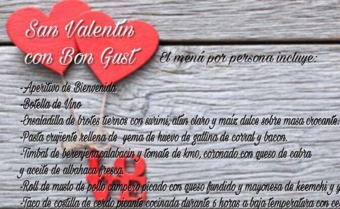 Menú San Valentín Bon Gust