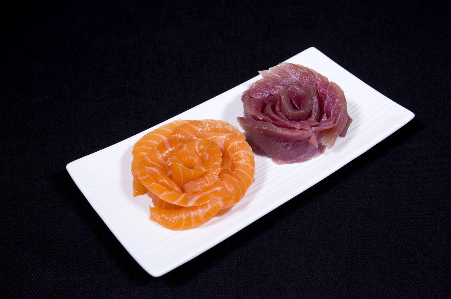 Sashimi de atún y salmón